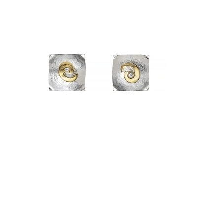 Celtic swirl square earrings stud